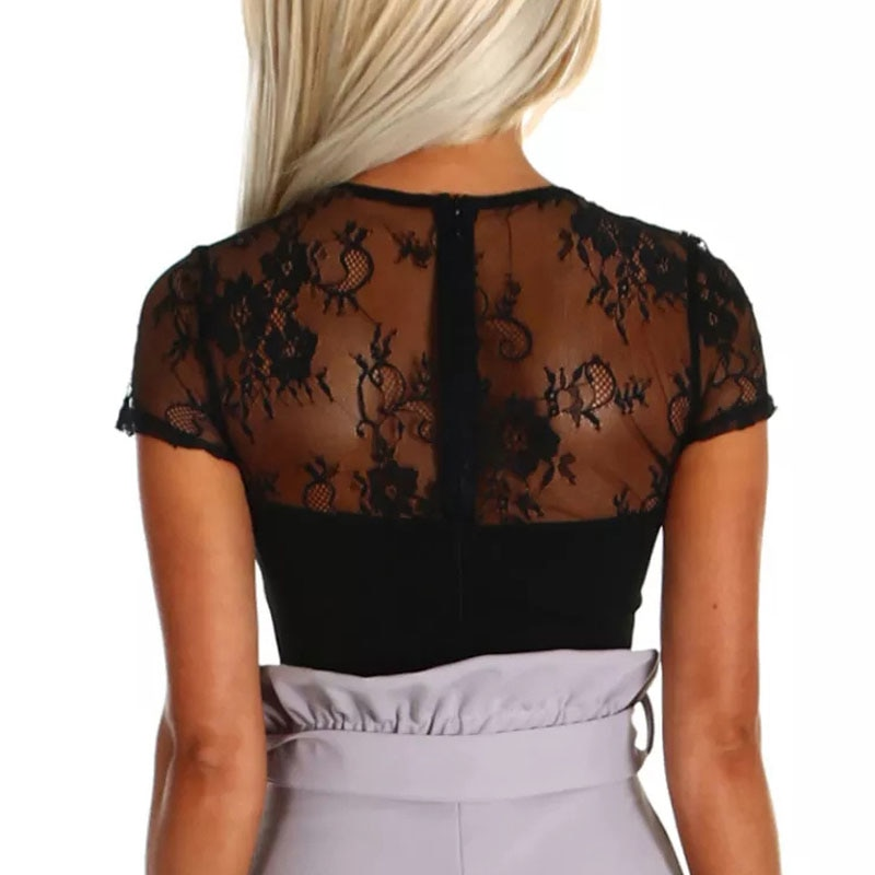 SEBOWEL 2019 Black Sexy Lace Bodysuit Woman Short Sleeve Summer Lady Body Top Clothes for Female Bodycon Sheer Deep V Bodysuits