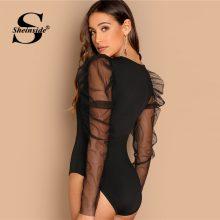 Sheinside Contrast Mesh Gigot Sleeve Black Bodysuit Women Mid Waist Skinny Sexy Bodysuit Elegant Ladies Long Sleeve Bodysuits