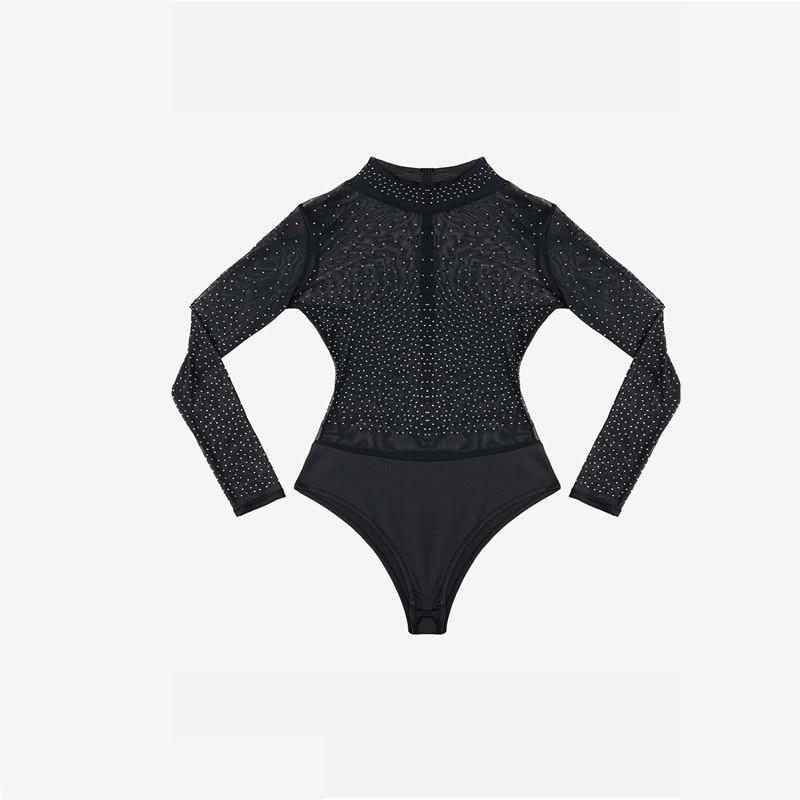 Dear Lover Women Rompers 2018 Party Sexy Bodysuit Long Sleeve Black Mesh Silver Studded Mock Neck Bodysuit Body Feminino LC32211