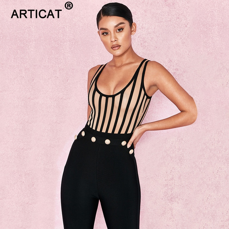 Articat Striped Mesh Sexy Bodysuit Women Sleeveless V Neck Summer Slim Rompers Womens Jumpsuit Black Casual Playsuit Women Tops