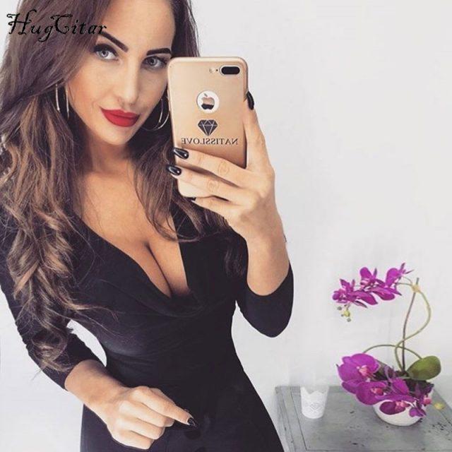 Hugcitar long sleeve bodysuit 2018 women V-neck sexy fashion black pink khaki solid bodycon female body