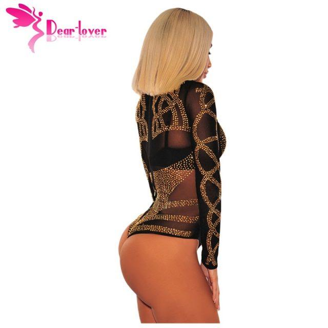 Dear Lover Sexy Rompers 2018 Women Bodycon Clubwear Black Gold Rhinestone Faux Bustier Mesh Long Sleeves Skinny Bodysuit LC32210