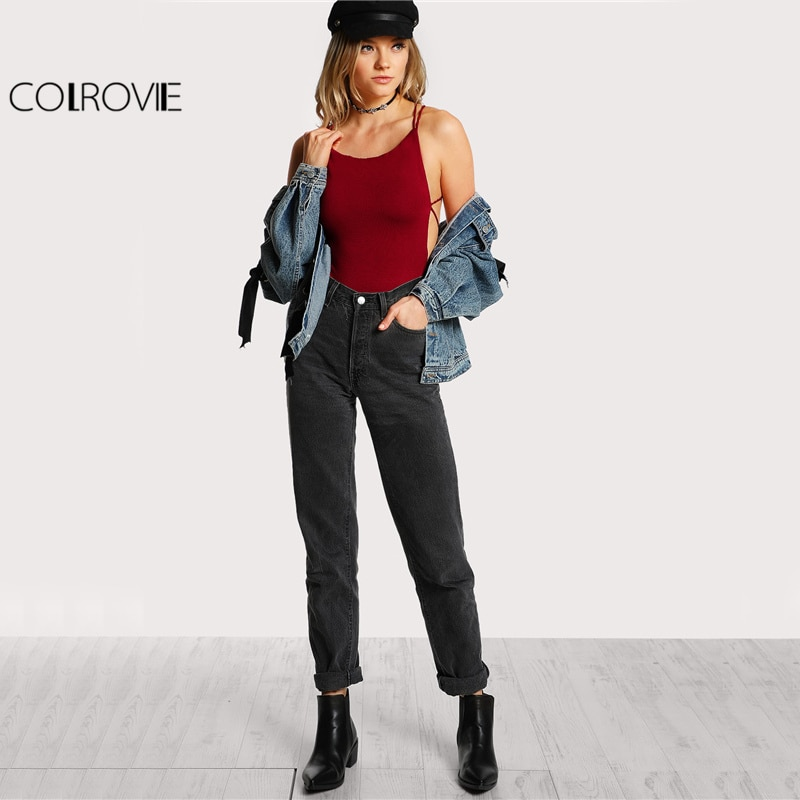 COLROVIE Strappy Backless Sexy Club Bodysuit Women Skinny Cross Back Summer Bodysuits Burgundy Sleeveless Basic Bodysuit