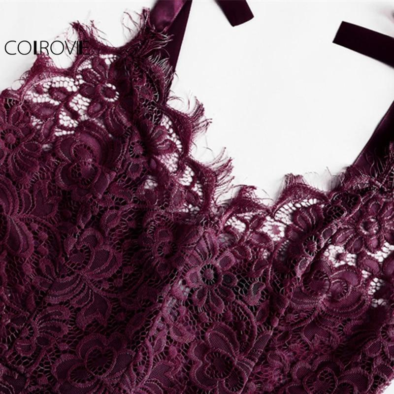 COLROVIE Sexy Bodysuit Purple V neck Strap Sleeveless Backless Lace Bodysuit Ribbon Tie Shoulder Floral Skinny Bodysuit