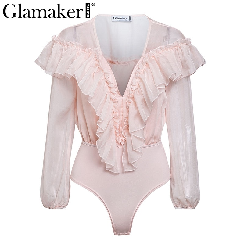Chiffon transparent mesh long sleeve bodysuit Women ruffles deep v neck pink body suit Sexy casual short party summer jumpsuit