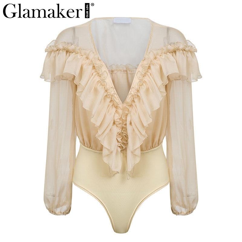 Chiffon transparent mesh long sleeve bodysuit Women ruffles deep v neck pink body suit Sexy casual short party summer jumpsuit