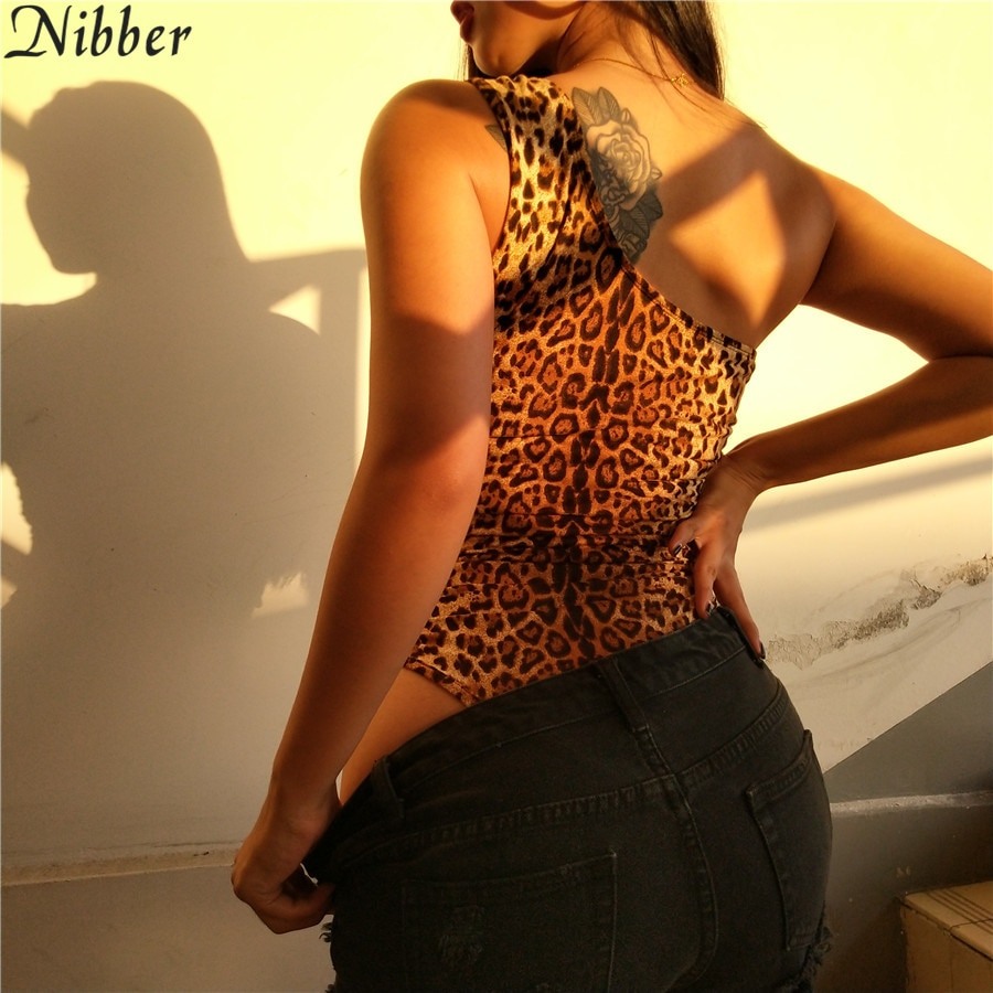 Nibber women's autumn and winter sexy leopard jumpsuit shoulder strap T-shirt thin section fleece hollow women's hot sale