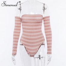 Simenual Backless lace up bodysuit women striped off shoulder bodysuits slim sexy hot long sleeve pink jumpsuits autumn rompers