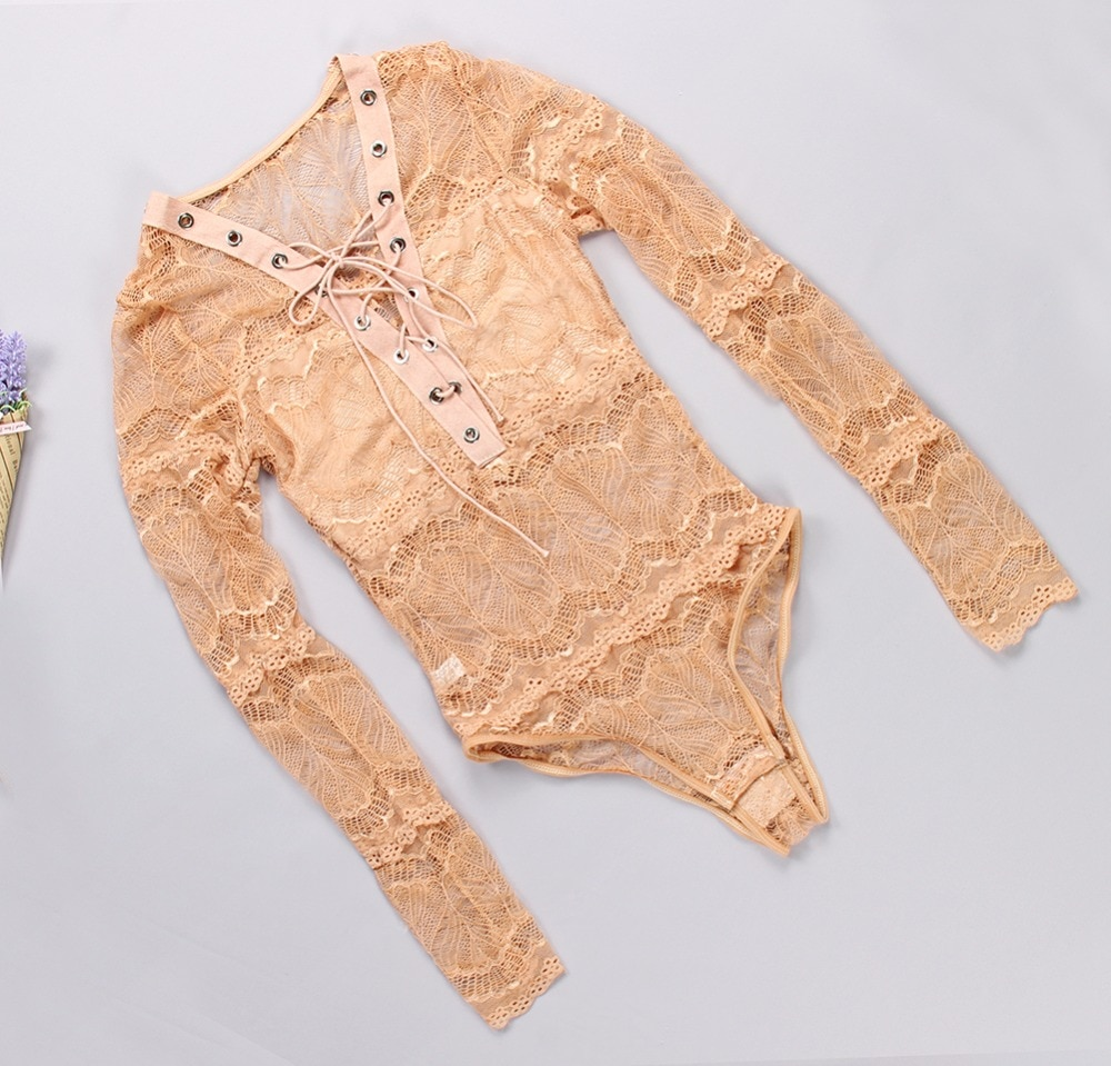 Sexy Mesh Lace Bodysuit Women Body Top Autumn Long Sleeve Lace Up Bandage Bodysuits See Through Rompers Overalls Club Wear GV113