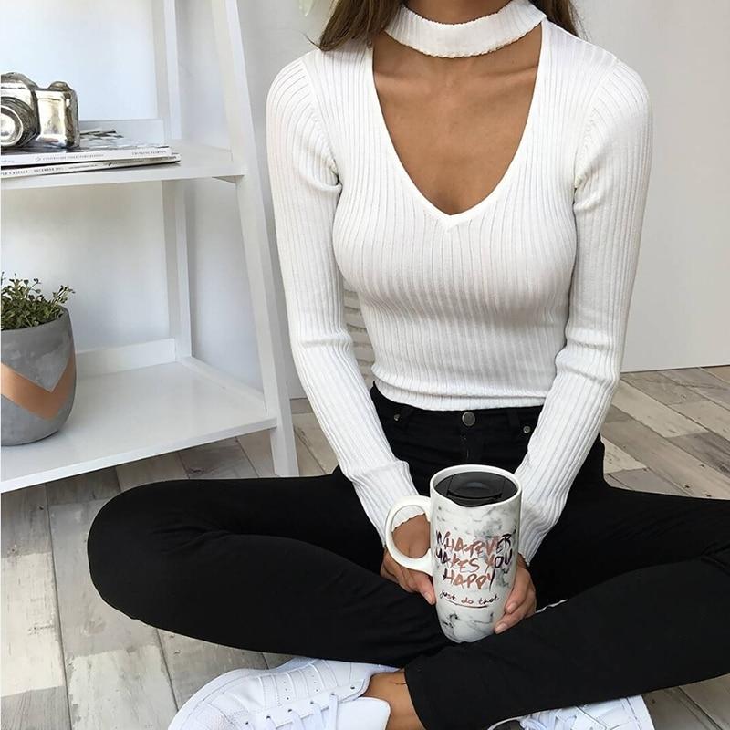 Sibybo Sexy Bodysuits Women 2019 Halter Knitted Autumn Winter Black Slim Bodycon Jumpsuit Romper Womens V-Neck Jumpsuit Tops