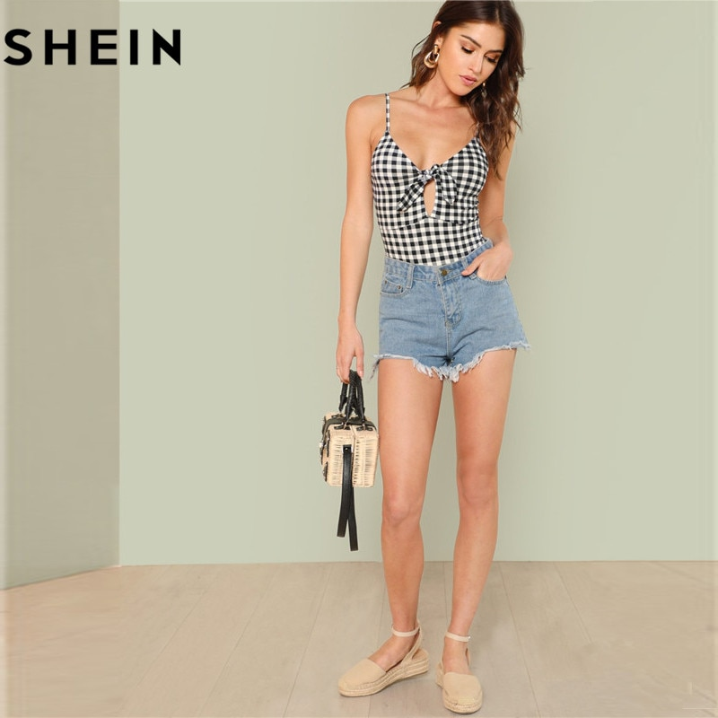 SHEIN Sleeveless Spaghetti Strap Sexy Backless Summer Women Bodysuits Mid Waist Deep V Plaid Cut Out Knot Skinny Cami Bodysuit