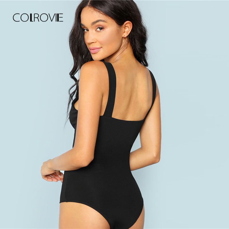 COLROVIE Black Casual Solid V-Cut Front Skinny Tee Sexy Bodysuit Women Autumn Office Lady Straps Basic Female Bodysuits