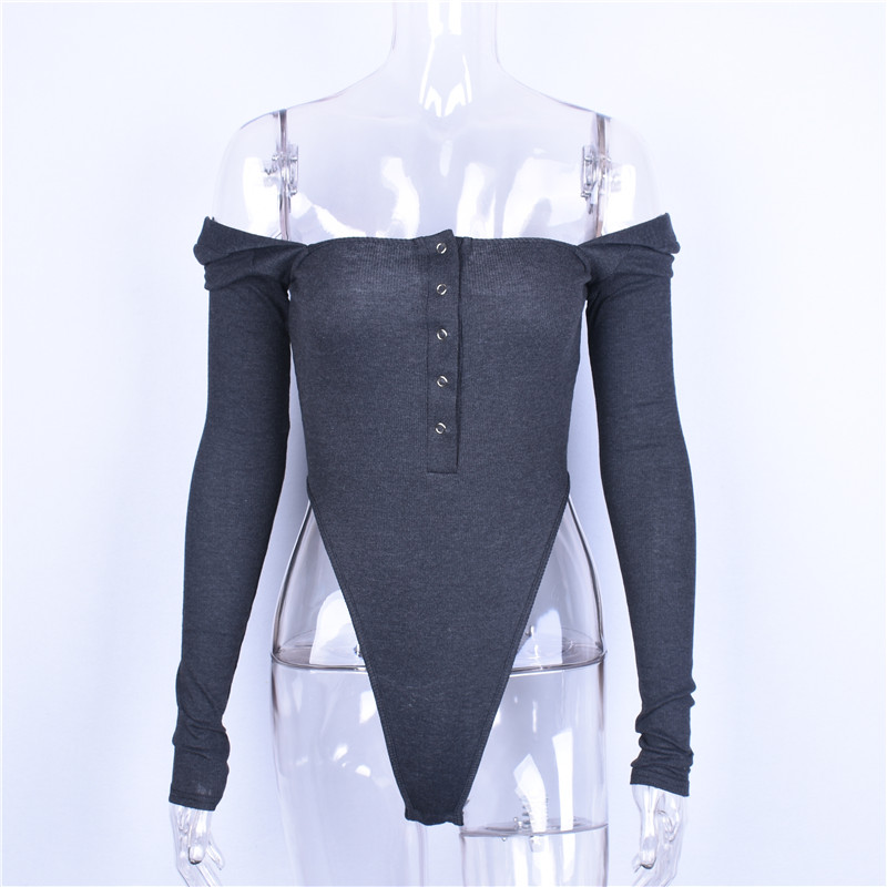Hugcitar cotton slash neck sexy button long sleeve black solid bodycon bodysuit 2018 summer atutmn women fashion body
