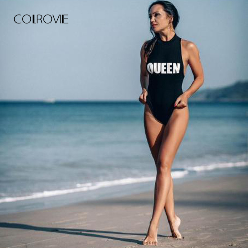 COLROVIE Mock Neck Racerback Bodysuit Black Sexy Skinny Women Letter Print Slim Bodysuits Summer Sleeveless Brief Bodysuit