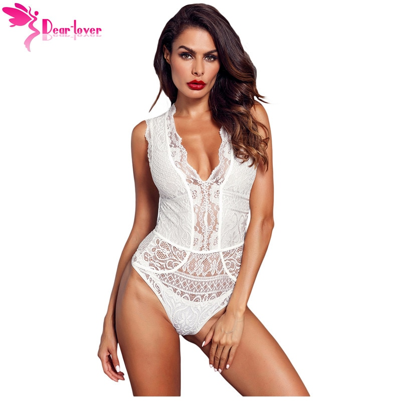 Dear Lover Sexy Rompers Women Black V Neck Sleeveless Hollow-out Lace Bodysuits Body Tops Overalls One Pieces Jumpsuits LC32247