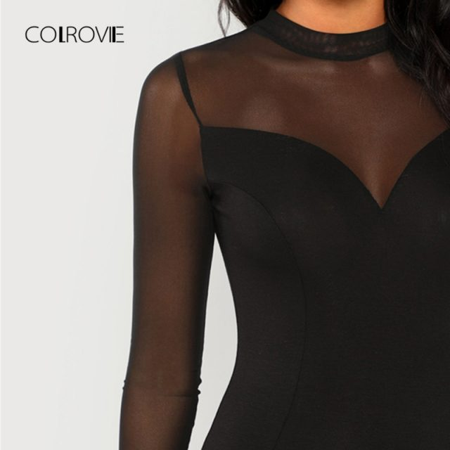 COLROVIE Black Solid Mock Neck Mesh Panel Skinny Sexy Bodysuit Women Autumn Long Sleeve Office Female Basic Night Out Bodysuits