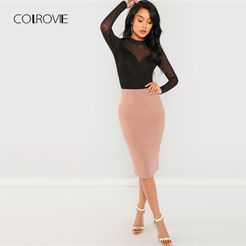 COLROVIE Black Solid Mock Neck Mesh Panel Skinny Sexy Bodysuit Women Autumn Long Sleeve Office Female Basic Night Out Bodysuits