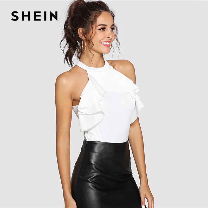 SHEIN Ruffle Trim Keyhole Back Halter Bodysuit White Button Mid Waist Sleeveless Skinny Bodysuits Women Summer Party Bodysuit