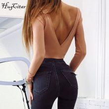 Hugcitar cotton long sleeve one shoulder slope neckline bodysuit 2017 autumn winter women solid sexy backless body