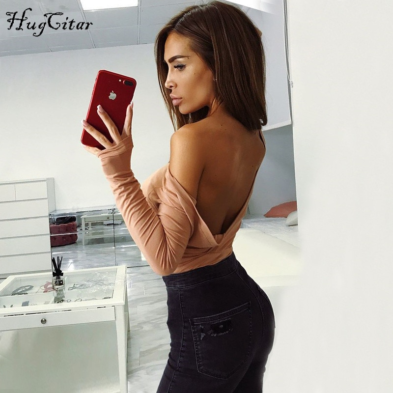 Hugcitar cotton long sleeve one shoulder slope neckline bodysuit 2017 autumn winter women solid sexy backless body