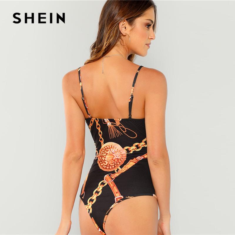SHEIN Black Plunging Neck Form Fitting Cami Bodysuit Sexy Deep V Neck Sleeveless Bodysuits Women Summer Skinny Party Bodysuits