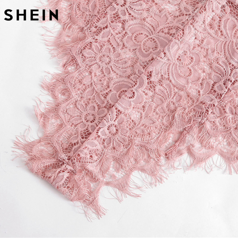 SHEIN Ribbon Tie Shoulder See Though Floral Lace Bodysuit Ladies Sexy Bodysuit Pink Sleeveless V Neck Cute Bodysuit
