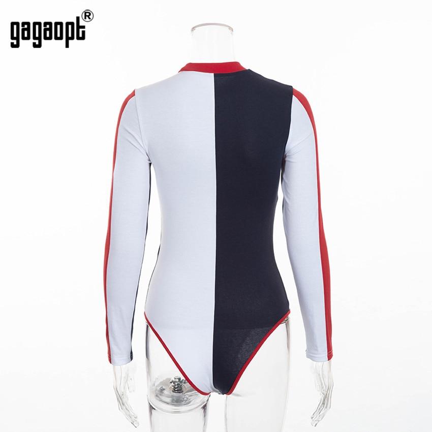 Gagaopt 2018 Cotton Bodycon Bodysuit Long Sleeve Contrast Color Sexy Bodysuit Women Skinny Bodysuit Elegant Jumpsuit Overalls