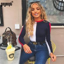 Gagaopt 2018 Cotton Bodycon Bodysuit Long Sleeve Contrast Color Sexy Bodysuit Women Skinny Bodysuit Elegant Jumpsuit Overalls