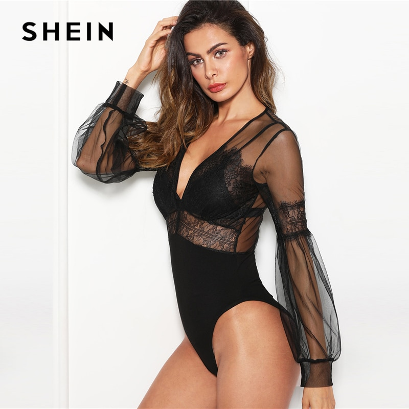 SHEIN Black Sexy Elegant Plunge Neck Lace Insert Sheer Mesh Puff Sleeve Mid Waist Bodysuit Summer Women Going Out Bodysuits