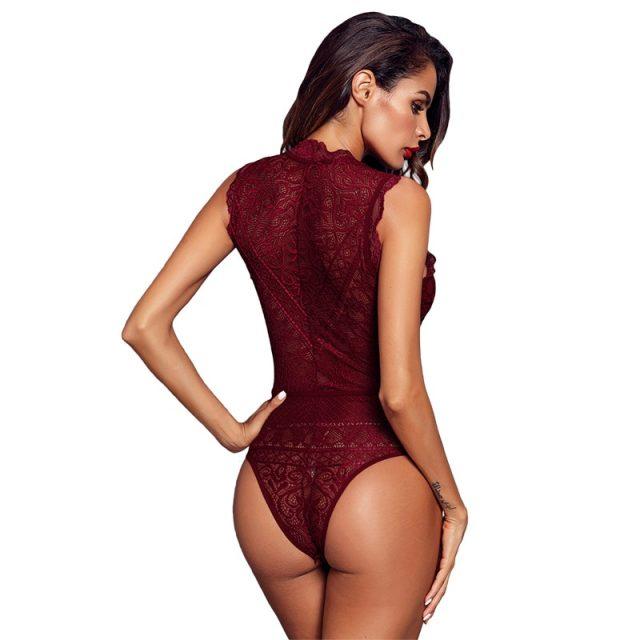 SEBOWEL Sexy Black/Red/White Sleeveless Lace Bodysuit Women Deep-V Hollow-out Bodysuits Feminine Transparent Bodycon Body Tops