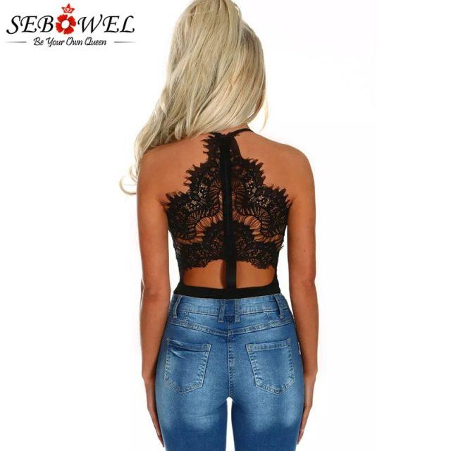 SEBOWEL Sexy Black Eyelash Lace Bodysuit Women V neck High Waist Body Top Sleeveless Teddy Bodysuits Femme Romper Combinaison
