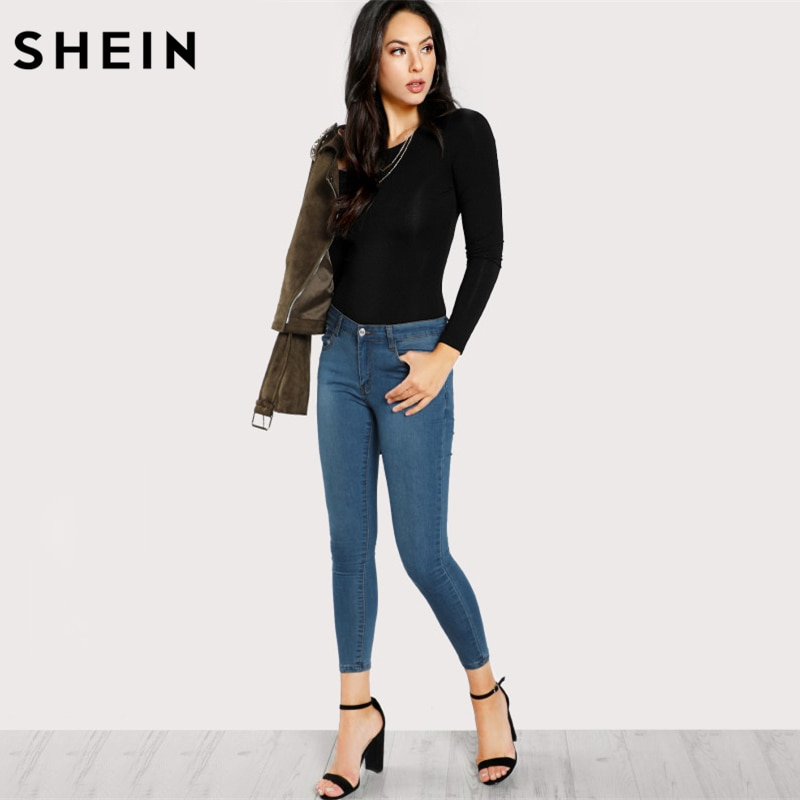 SHEIN Skinny Sexy Bodysuit Solid Long Sleeve Tee Bodysuit Black Mid Waist Round Neck Autumn Casual Bodysuit for Women
