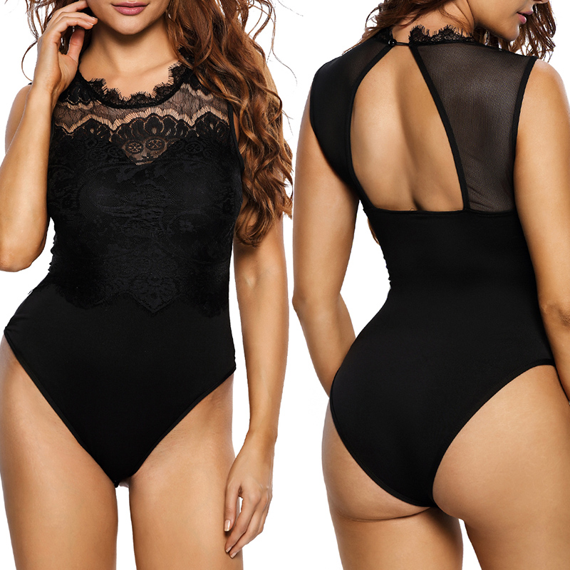 ADEWEL 2019 Sexy Women Lace Bodysuit High Neck Open Back Bodycon Body Tops Woman Bodysuit Romper Combinaison Black/white/pink