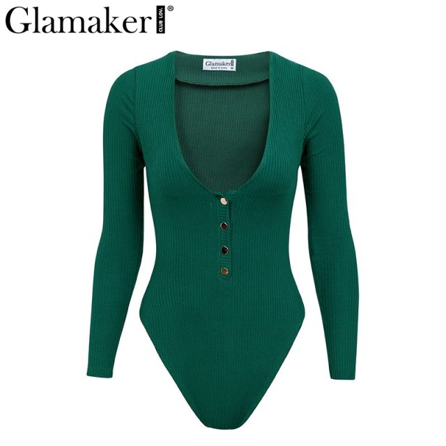 Glamaker Knitted sexy black bodycon bodysuit Women summer button ladies long sleeve bodysuit Elegant deep v neck party bodysuit