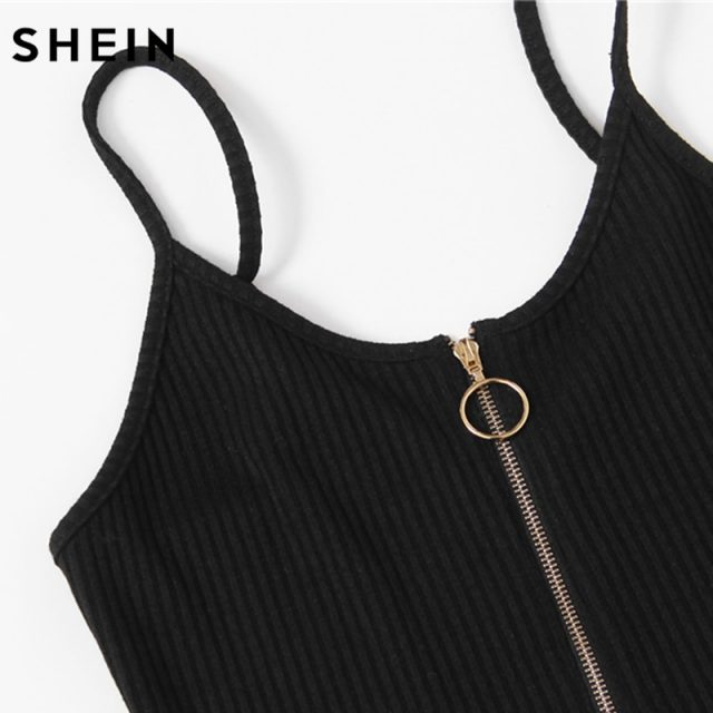 SHEIN O-Ring Zipper Front Ribbed Cami Bodysuit Summer Casual Black Scoop Neck Sleeveless Sexy Bodysuits for Women