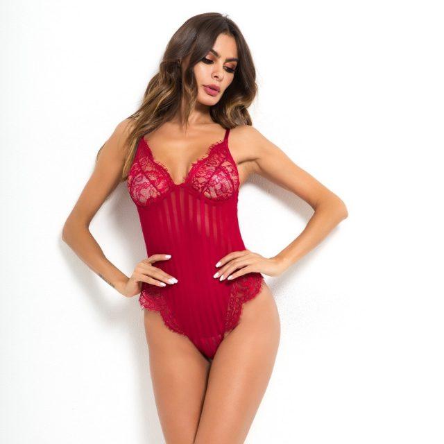 Cryptographic V neck spaghetti strap lace bodysuit women sheer body teddy transparent stripe sexy jumpsuit romper 2018 bodysuits