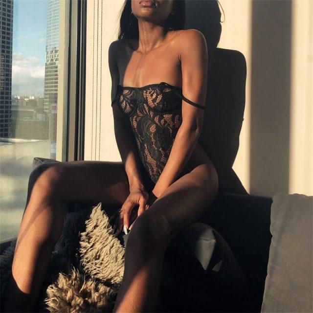 Cryptographic black lace mesh transparent bodysuit sexy jumpsuits back zipper hot teddies catsuit hollow out straps bodysuits