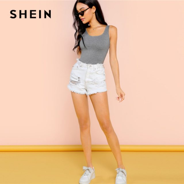 SHEIN Grey Casual Sexy Heather Tank Solid Square Neck Mid Waist Skinny Bodysuit Summer Women Going Out Bodysuits
