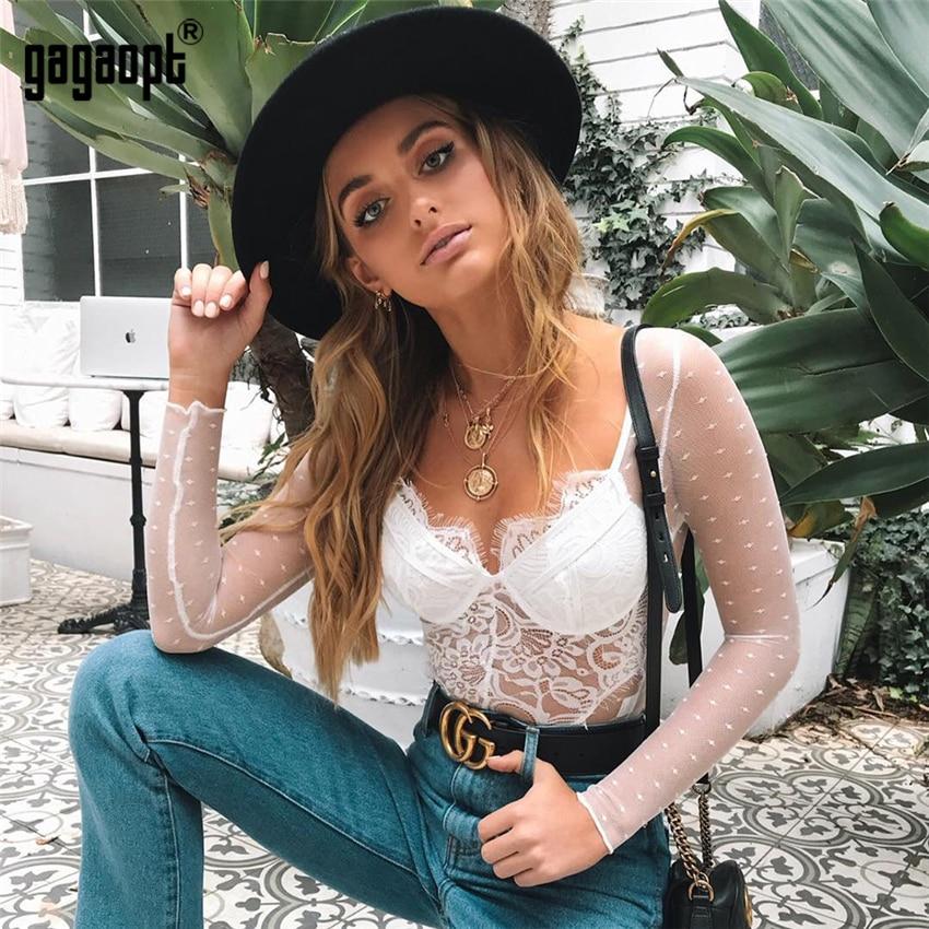 Gagaopt 2018 Sexy Lace Bodysuit Embroidery Polka Dot Perspective Romper Women Jumpsuit Summer Vintage femme Long Sleeve Bodysuit