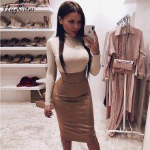Hugcitar cotton high neck long sleeve solid bodysuit 2018 autumn winter women fashion party Christmas bodycon slim sexy body