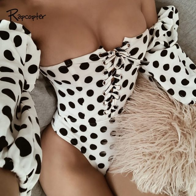 Rapcopter Sexy Dot Skinny Female Bodysuits Fashion One-Shoulder Womens Loose Sleeve Body Jumpsuits Woden Casual Popular Bodysuit