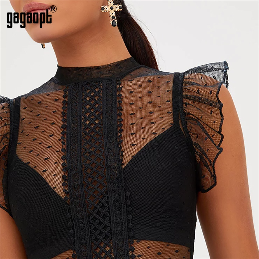Gagaopt 2018 Summer Overalls Lace Bodysuit Women Ruffle Sleeve Black Sexy Bodysuit Polka Dot Mesh Bodysuit Club Jumpsuit Blusas
