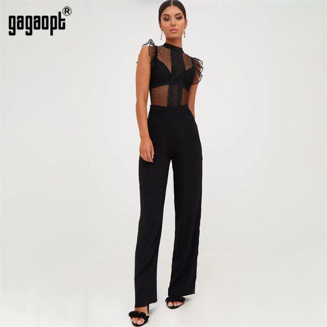 Gagaopt 2018 Summer Overalls Lace Bodysuit Women Ruffle Sleeve Black Sexy Bodysuit Polka Dot Mesh Bodysuit Club Jumpsuit Blusas
