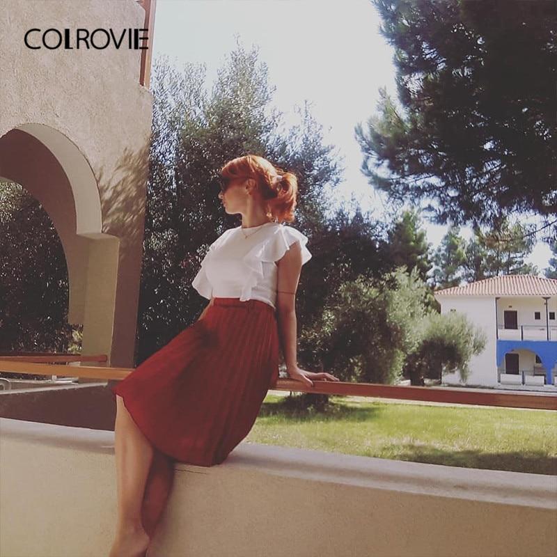 COLROVIE Ruffle Cute Textured Bodysuit Women White Cap Sleeve Slim Summer Bodysuits Fashion New Sexy Brief Skinny Bodysuit