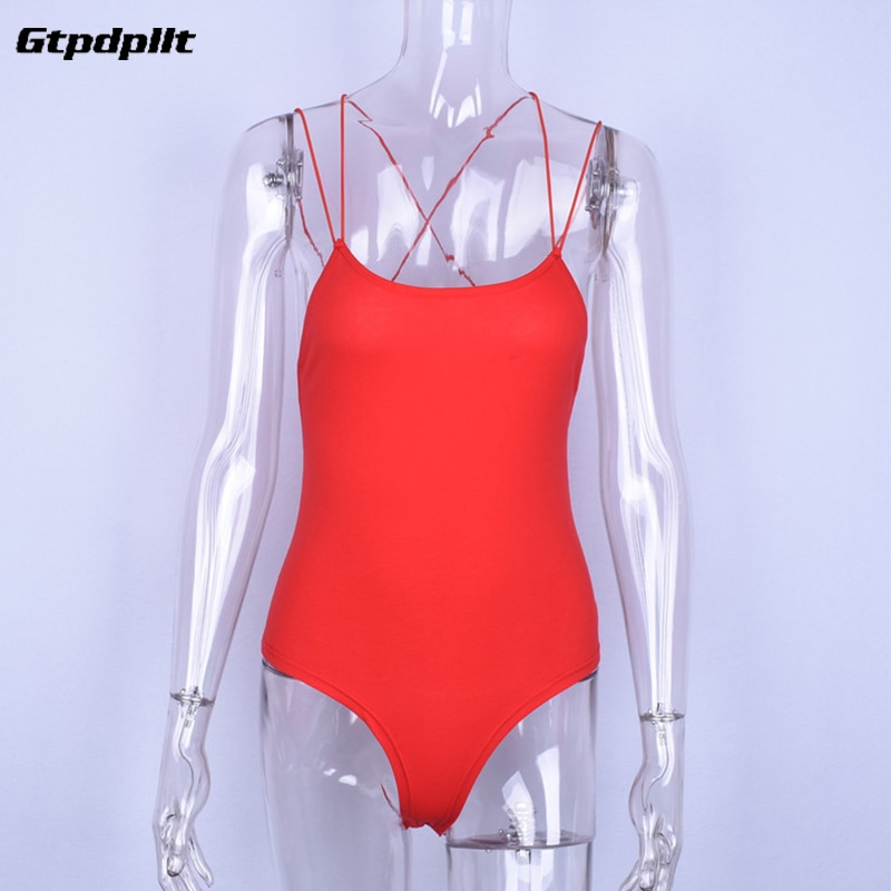 Gtpdpllt Sexy Summer Bodysuit 2018 Women Red Backless Bodycon body feminino Overalls Rompers Womens Jumpsuit combinaison femme