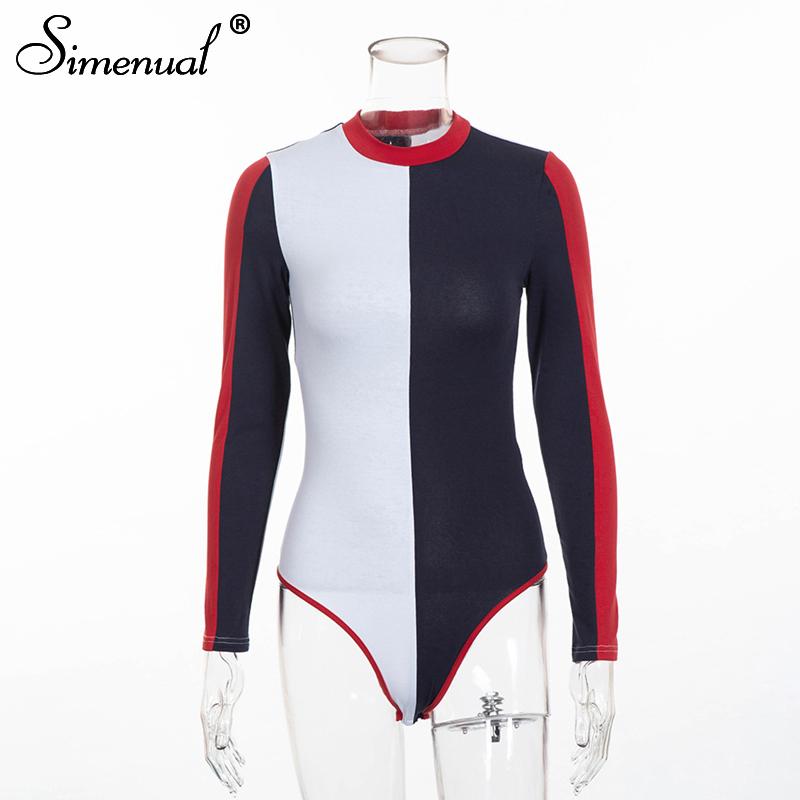 Simenual 2019 Autumn patchwork bodysuit women clothing fashion streetwear long sleeve bandage sexy bodysuits female one piece