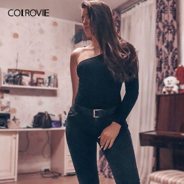 COLROVIE Black Basic One Shoulder Bodysuit Rib Knit Elegant Women Sexy Autumn Bodysuits Fashion Long Sleeve Skinny Bodysuit