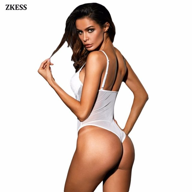 ZKESS Sexy Black/White Lace Cup Mesh Bodysuits Sleeveless Hammock Patchwork Hollow Out Shoulder Strap Bedtime Underwire LC32175