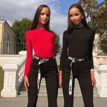 InstaHot Cotton Letter Print Turtleneck Bodysuits Women Mock Neck Autumn Bodycon Tops Playsuits Elastic Party Fashion Blouse