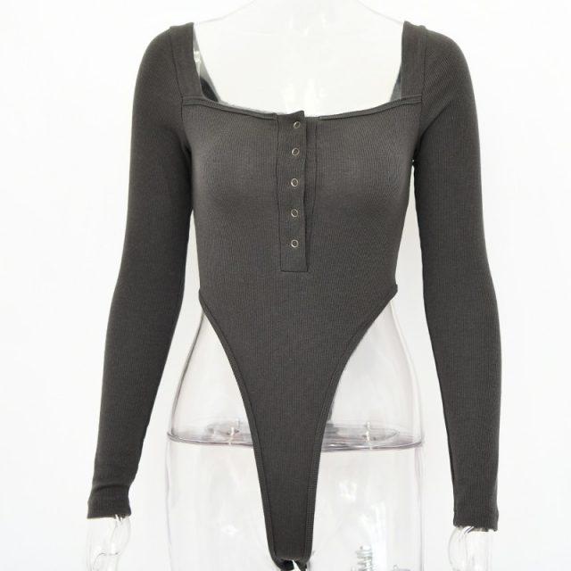 Articat Black Off Shoulder Sexy Bodysuit Women Long Sleeve Slash Buttons Bodycon Rompers Womens Jumpsuit Summer Autumn Body Suit
